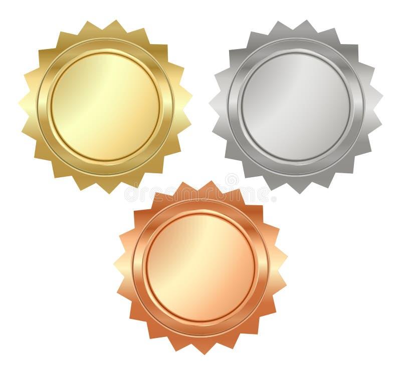 Wektorowi puści glansowani serrated medale złoto, srebro i brąz, t royalty ilustracja