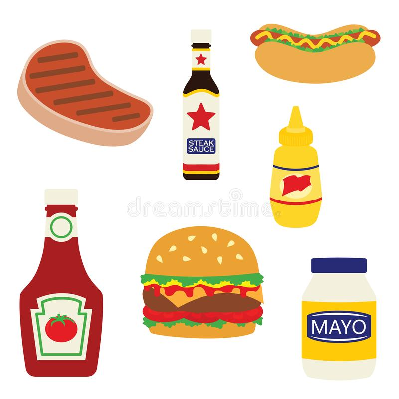 Wektorowi Pykniczni grillów Foods, Condiments Ilustracyjni i ilustracja wektor