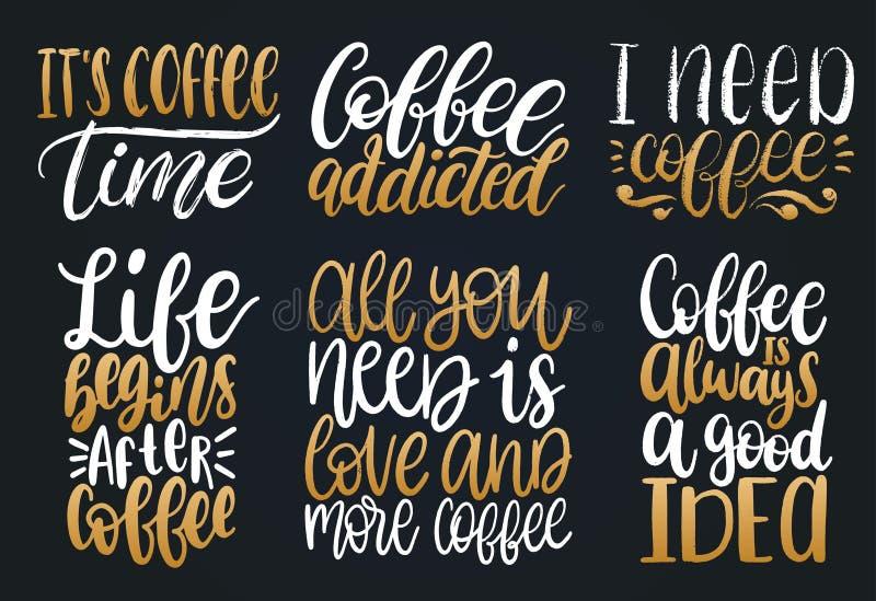 Wektorowi ręcznie pisany kawa zwroty ustawiający Przytacza typografię Kaligrafii ilustracje dla restauracyjnego plakata, cukierni ilustracja wektor