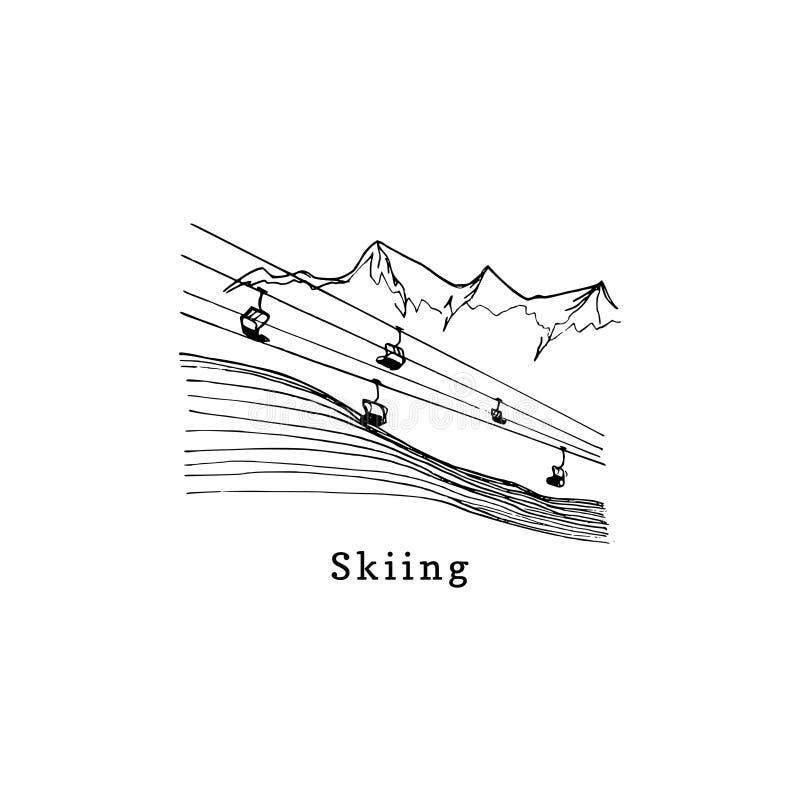 Wektorowi ręk nakreślenia narciarski dźwignięcie Halna zjazdowa ilustracja dla plakata, etykietki, etc ilustracja wektor