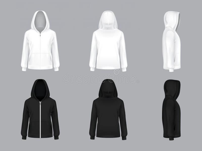 Wektorowi realistyczni biali i czarni hoodie modele royalty ilustracja