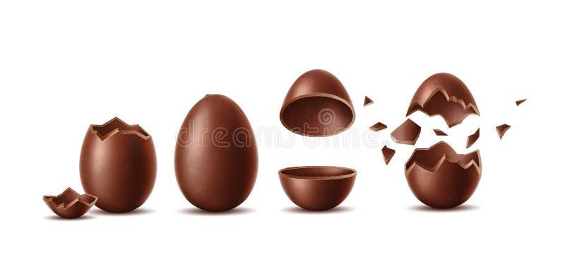 Wektorowi realistyczni czekoladowi jajka ustawiają Easter symbol ilustracji