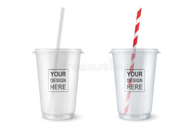 Wektorowi realistyczni 3d opróżniają jasną plastikową rozporządzalną filiżankę z słomianym ustalonym zbliżeniem odizolowywającym  ilustracja wektor