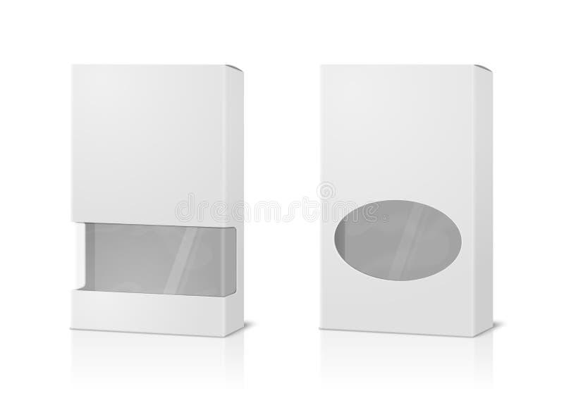Wektorowi realistyczni 3d wysocy papierowi pudełka, puste miejsce ilustracji