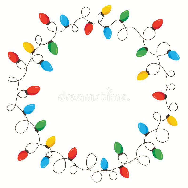 Wektorowi Retro Kolorowi Wakacyjni boże narodzenia i nowy rok Przeplatająca sznurków świateł Round Odosobniona rama na Białym tle royalty ilustracja