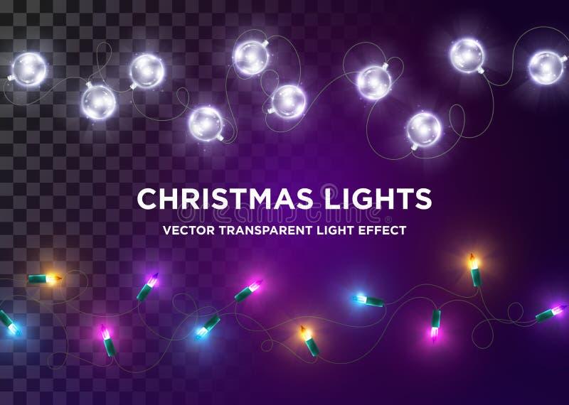 Wektorowi roczników bożonarodzeniowe światła Set barwiący Xmas światło ilustracji