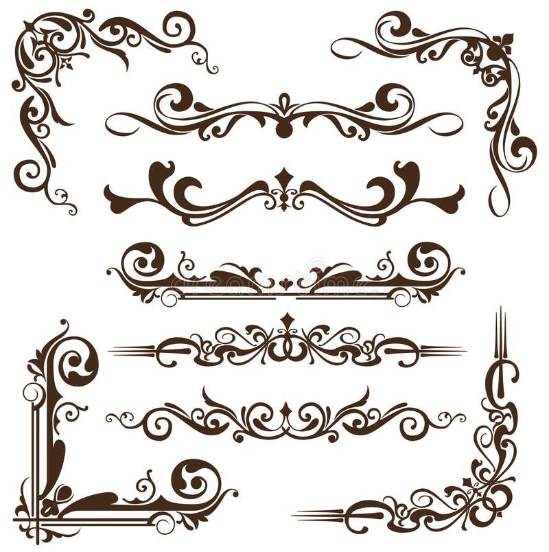 Wektorowi roczników ornamenty, kąty, graniczą ilustracji