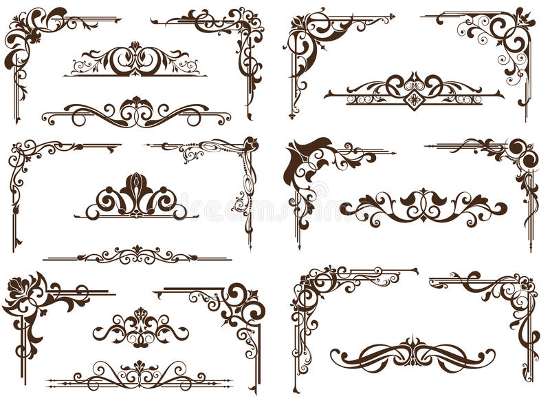 Wektorowi roczników ornamenty, kąty, graniczą ilustracja wektor