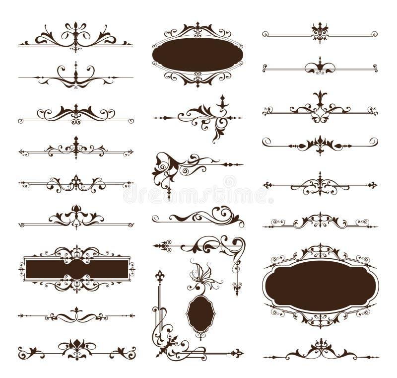 Wektorowi rocznika projekta elementy graniczą rama ornamentów kąty royalty ilustracja
