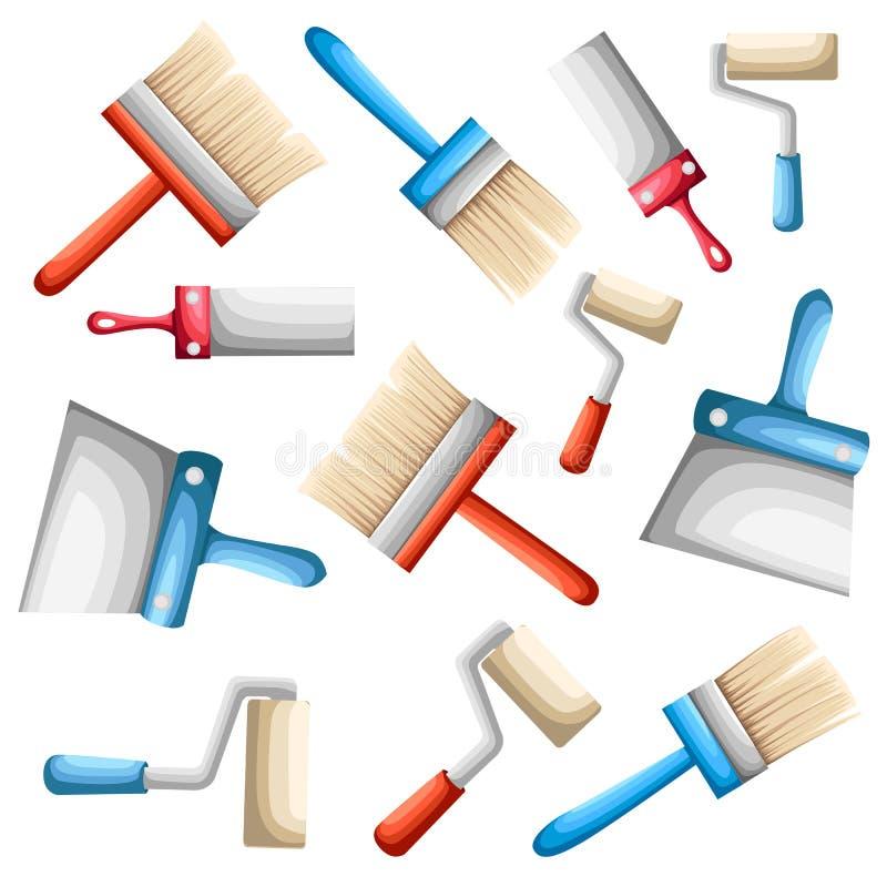 Wektorowi rolownika, farby muśnięcia z kolorami ustawiającymi narzędzia dla i naprawy i budowy strony internetowej strony app pro ilustracji