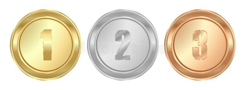 Wektorowi round okrzesani złota srebra brązowi medale pierwszy drugi ilustracja wektor