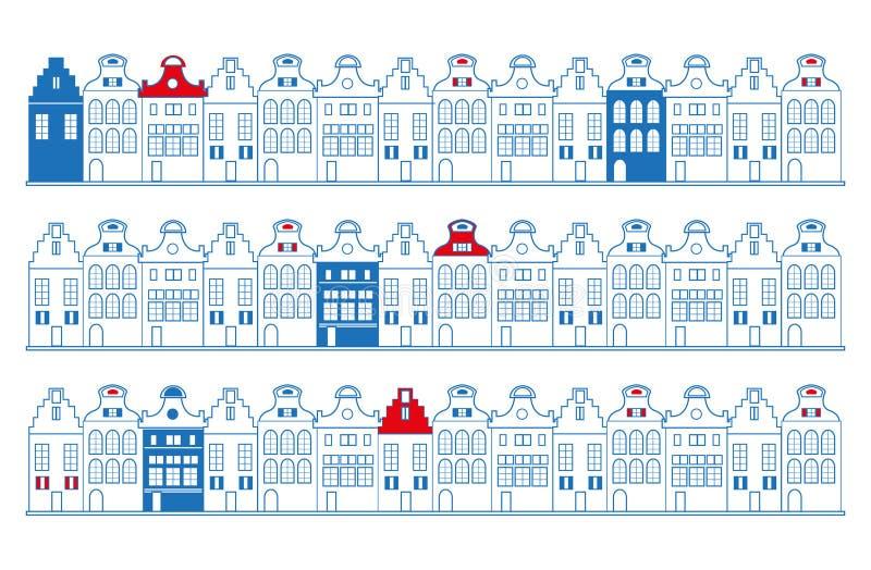 Wektorowi rzędy stary holender Holandia, Amsterdam tradycyjni domy w błękitnym, czerwień i biel, royalty ilustracja