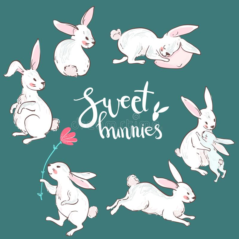 Wektorowi słodcy króliki, charakter śliczna kolekcja Samotny marznący drzewo ilustracji