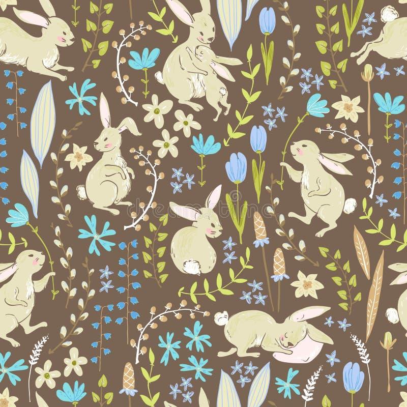 Wektorowi słodcy króliki, kwitną i gałąź, Wielkanocni śliczni cseamles royalty ilustracja