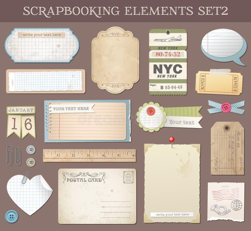 Wektorowi Scrapbooking elementy Ustawiają 2 ilustracji