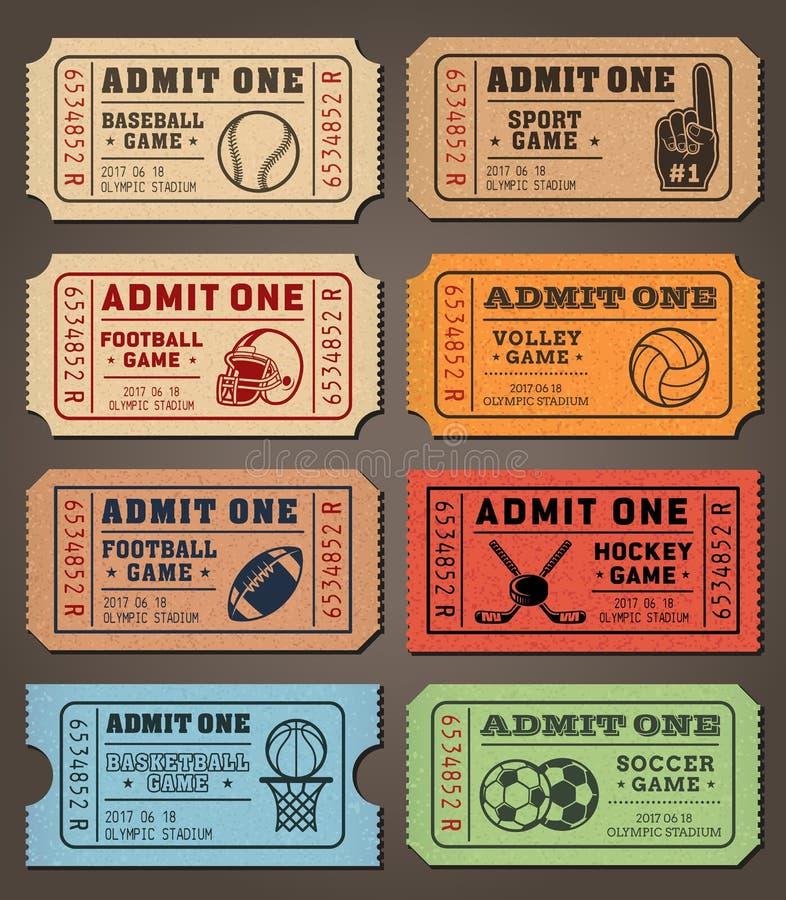 Wektorowi sportów biletów szablony ilustracja wektor
