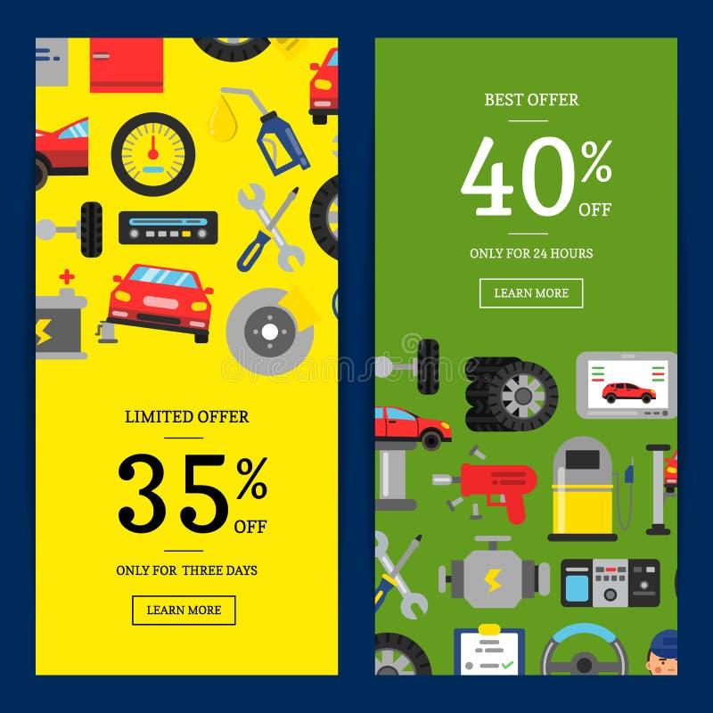 Wektorowi sprzedaży sieci sztandary ilustracyjni z mieszkanie stylu samochodowymi usługowymi elementami dla samochód usługa royalty ilustracja