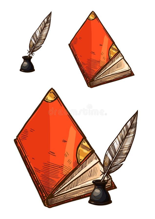 Wektorowi starych książek i atrament dutki piórka pióra royalty ilustracja