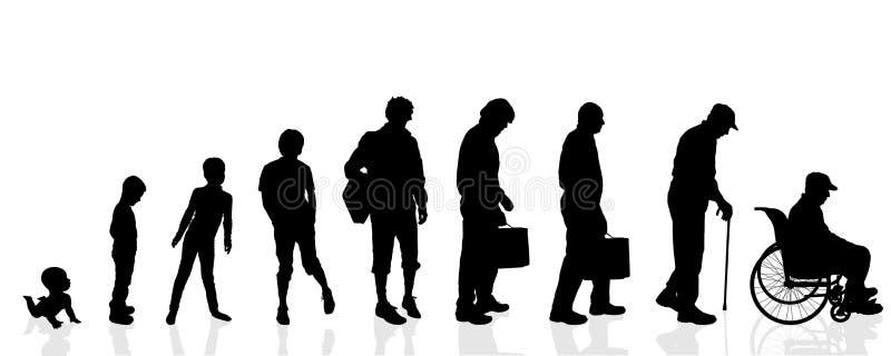 Wektorowi sylwetki pokolenia mężczyzna ilustracja wektor