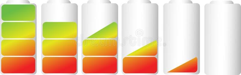 Wektorowi symbole bateryjny równy wskaźnik ilustracji