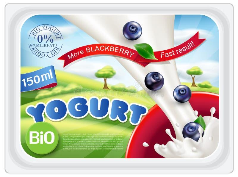 Wektorowi szablonów majchery dla pakować jogurt z czarnymi jagodami dalej royalty ilustracja