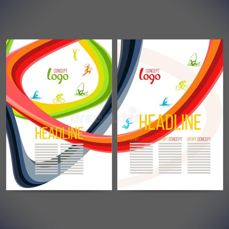 Wektorowi szablonu projekta paski barwioni pierścionki i fala royalty ilustracja