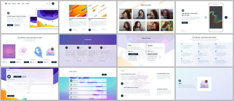 Wektorowi szablony dla strona internetowa projekta, minimalne prezentacje, portfolio z geometrycznymi kolorowymi wzorami, gradien royalty ilustracja