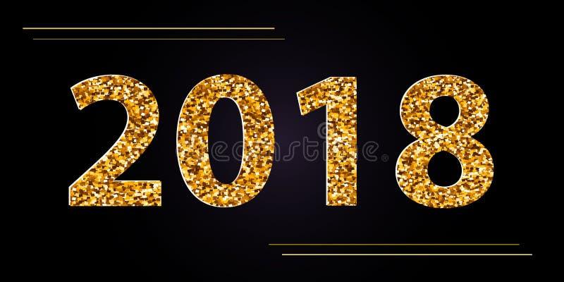 Wektorowi Szczęśliwi 2018 nowego roku czarny tło z złocistymi błyskotliwość confetti Świąteczny premia projekta szablon dla wakac royalty ilustracja