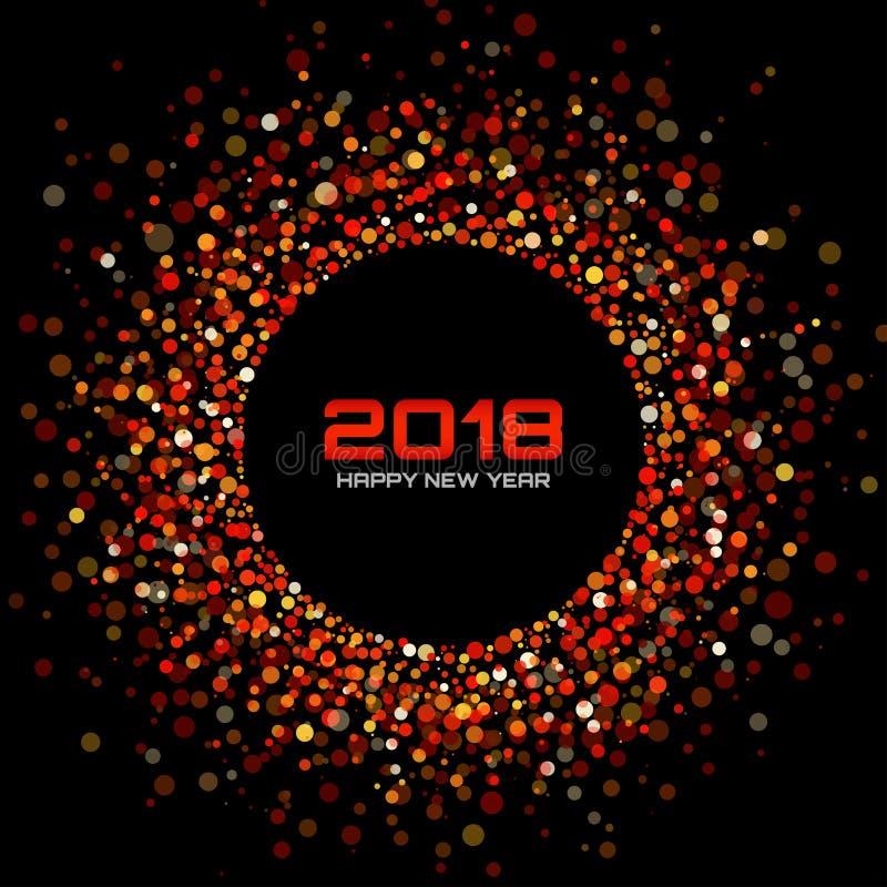 Wektorowi Szczęśliwi 2018 nowego roku Karciany tło Czerwona Jaskrawa dyskotek świateł Halftone okręgu rama ilustracja wektor