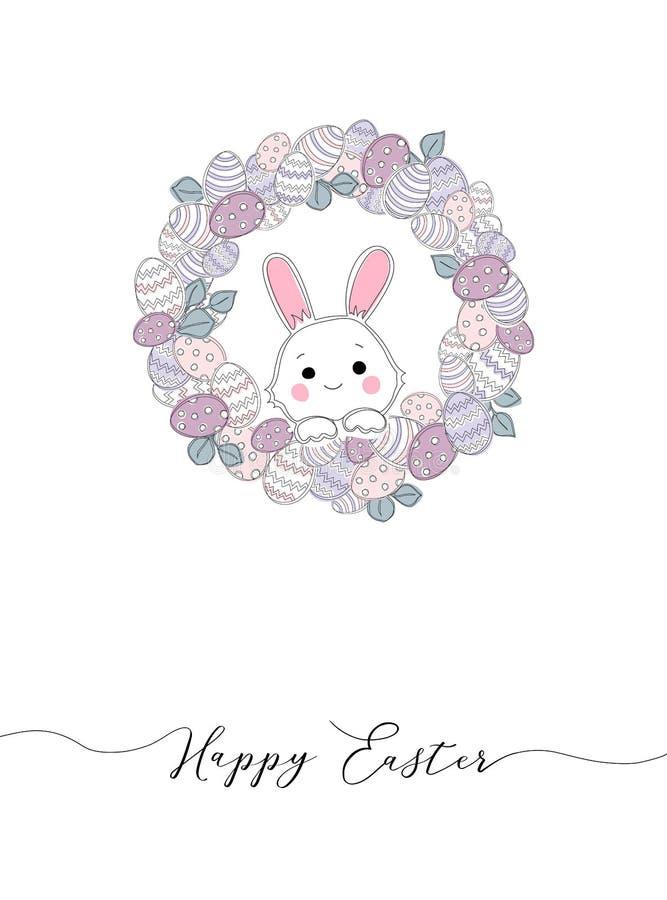 Wektorowi Szcz??liwi Wielkanocni szablony z jajkami, wiankami, kr royalty ilustracja