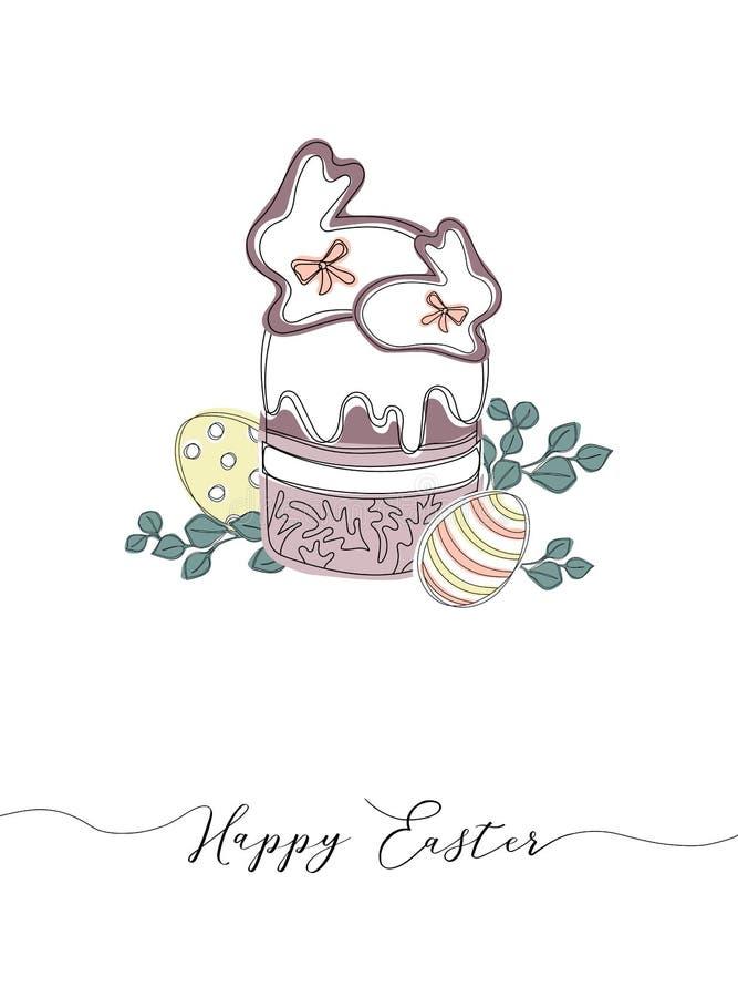 Wektorowi Szczęśliwi Wielkanocni szablony z jajkami, wiankami, królikiem i typograficznym projektem, royalty ilustracja
