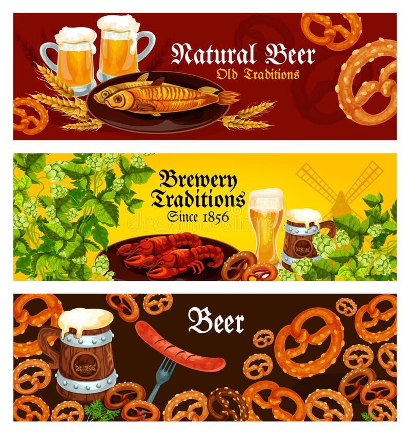 Wektorowi sztandary dla browaru piwa tradycj ilustracji