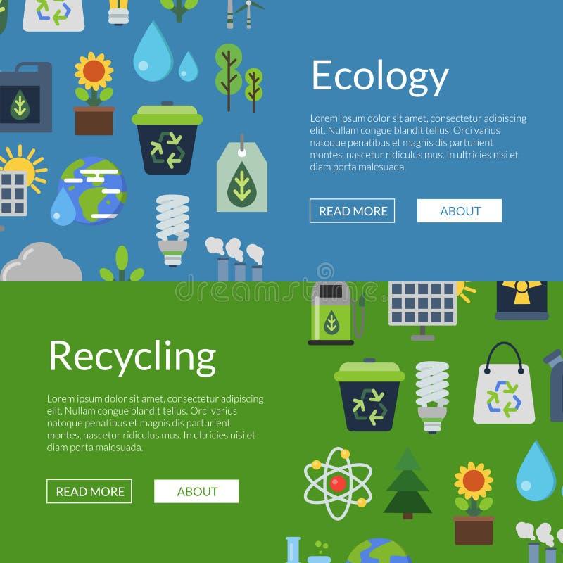 Wektorowi sztandary ilustracyjni z ekologii mieszkania ikonami ilustracja wektor