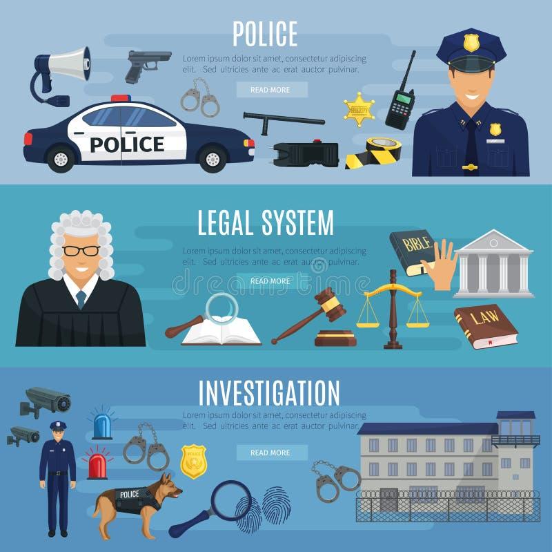 Wektorowi sztandary polici i systemu prawnego sędzia ilustracja wektor