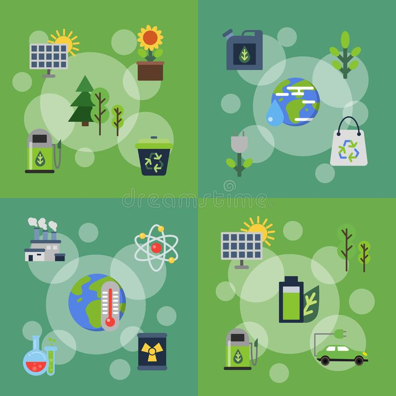 Wektorowi sztandary ustawiający ilustracje z ekologii mieszkania ikonami ilustracji