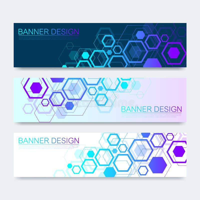 Wektorowi sztandary ustawiający z sześciokąta tłem Techniki inżynierii i technologii cyfrowej tło Cyfrowego telecom ilustracji
