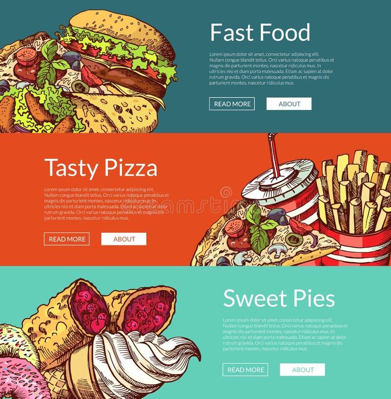 Wektorowi sztandary z hamburgerami, lody, donuts i pizzą fastfood, ilustracja wektor