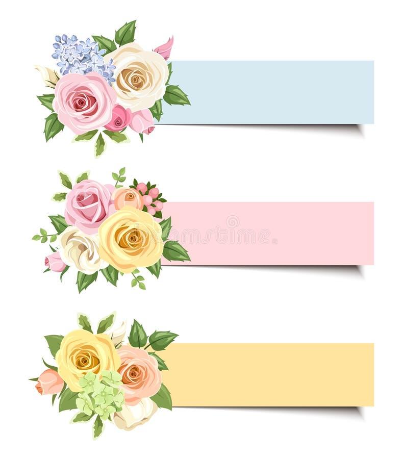 Wektorowi sztandary z kolorowymi różami i lisianthus kwiatami ilustracja wektor