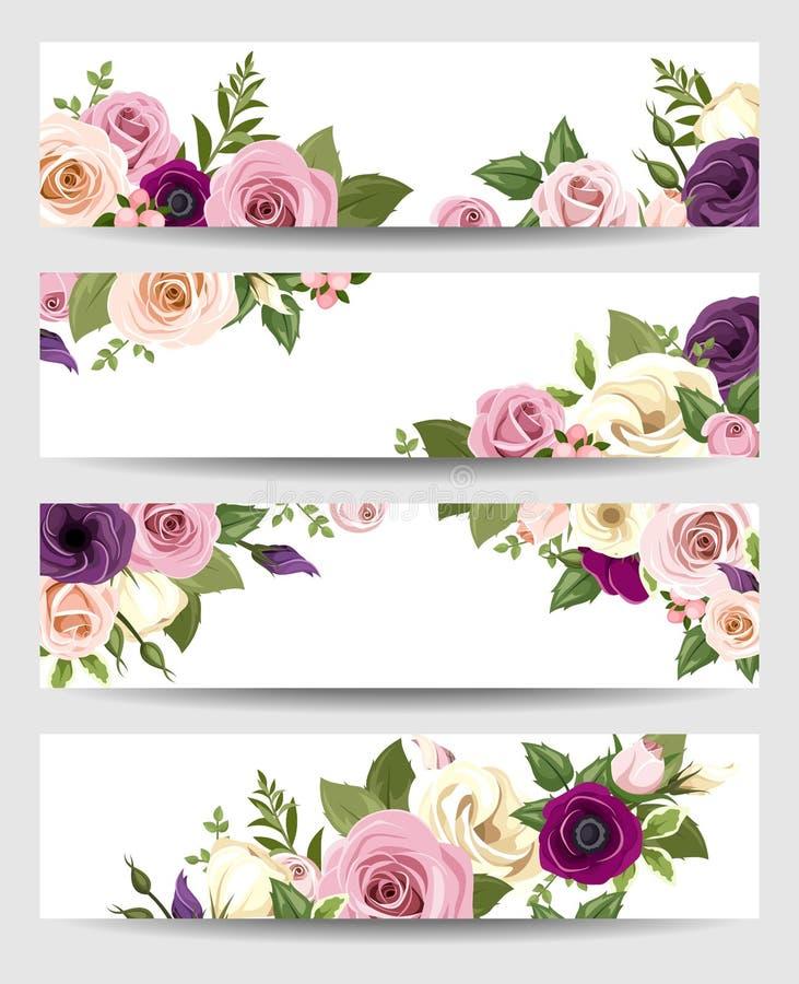 Wektorowi sztandary z kolorowymi różami, lisianthus i anemonów kwiatami, ilustracji