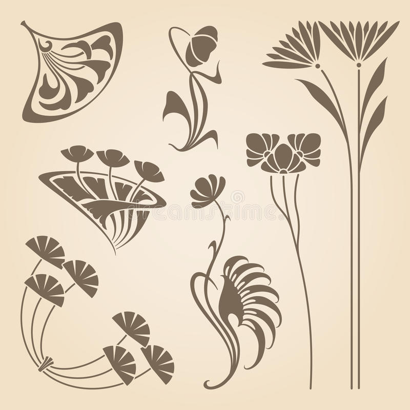 Wektorowi sztuki nouveau elementy ilustracja wektor