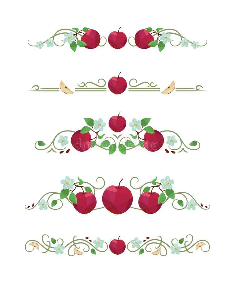 Wektorowi tekstów dividers z jabłkiem siają i liście ilustracji