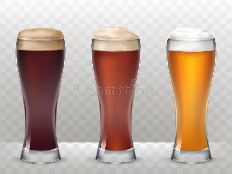 Wektorowi trzy ilustraci wysocy szkła z różnym piwem na przejrzystym tle royalty ilustracja