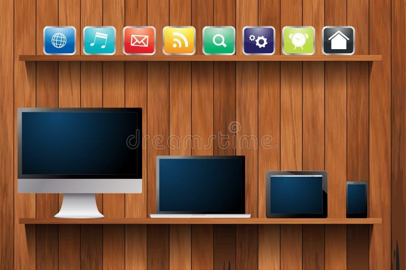 Wektorowi urządzenia elektroniczne komputerowi na drewnianej półce ilustracji