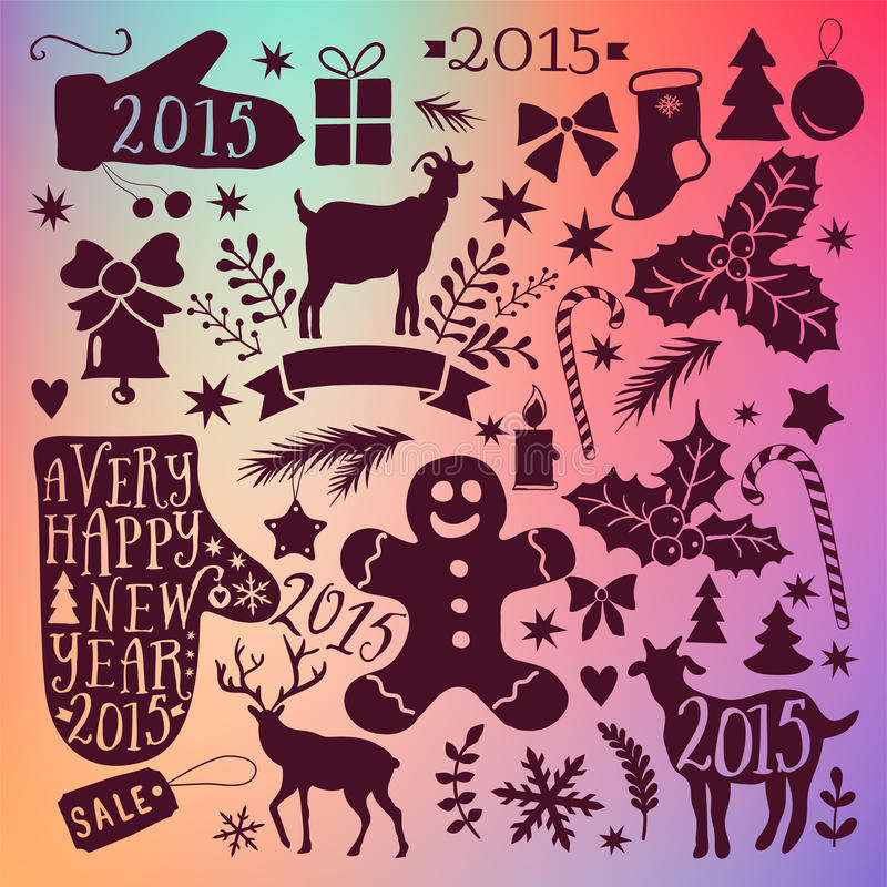 Wektorowi Wesoło boże narodzenia kolekcje, nowego roku plika ikony, doodles element dla boże narodzenie projekta Set zima wakacji royalty ilustracja