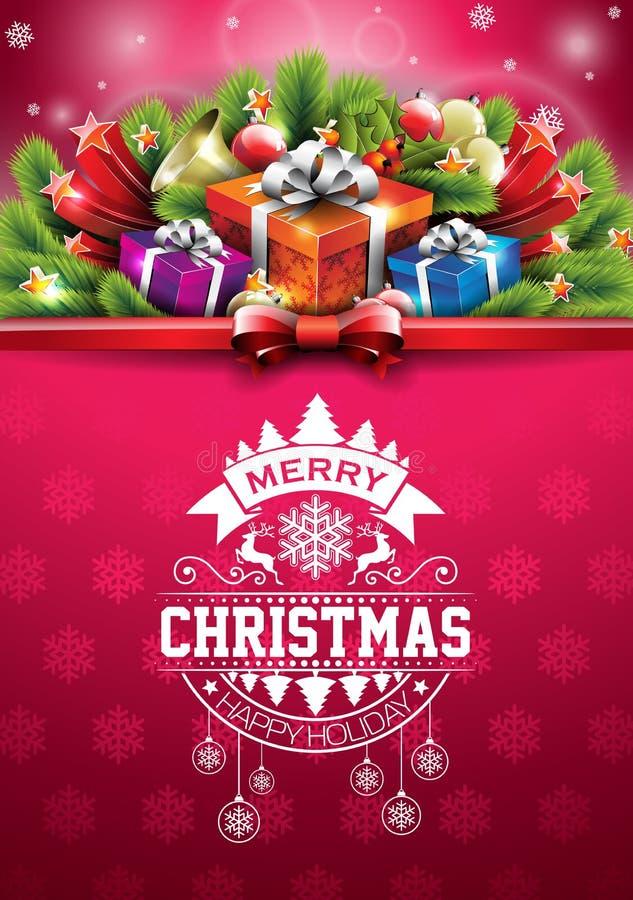 Wektorowi Wesoło bożych narodzeń Szczęśliwi wakacje ilustracyjni z typograficznym projekta i prezenta pudełkiem na czerwonych pła ilustracja wektor
