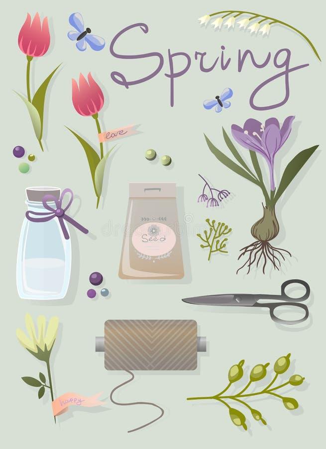 Wektorowi wiosna kwiaty i ogrodowi narzędzia ilustracji