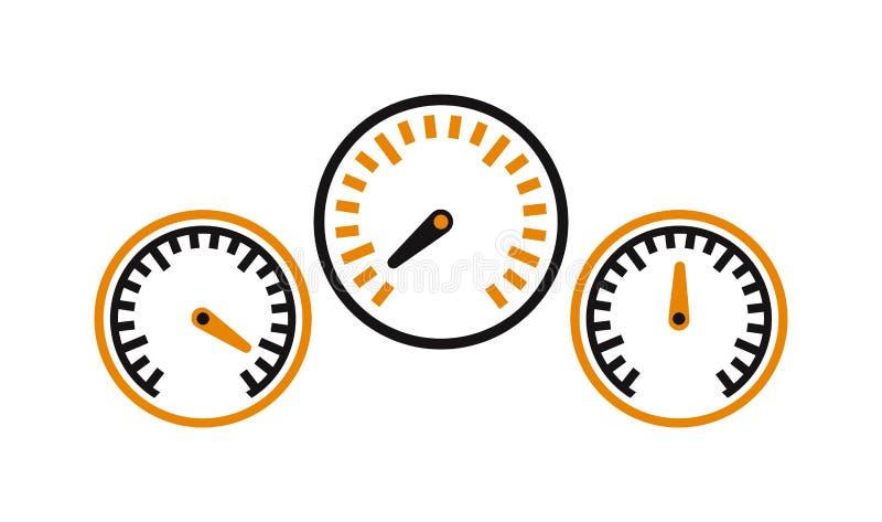 Wektorowi występu pomiaru samochody przyśpieszają ikona samochodu symbol royalty ilustracja