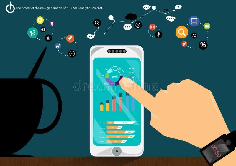 Wektorowi wytwarzanie siły biznesowej analizy rynku dane z postępowym komunikacja handlem szybko zawiera wykresu pokazu ikony royalty ilustracja