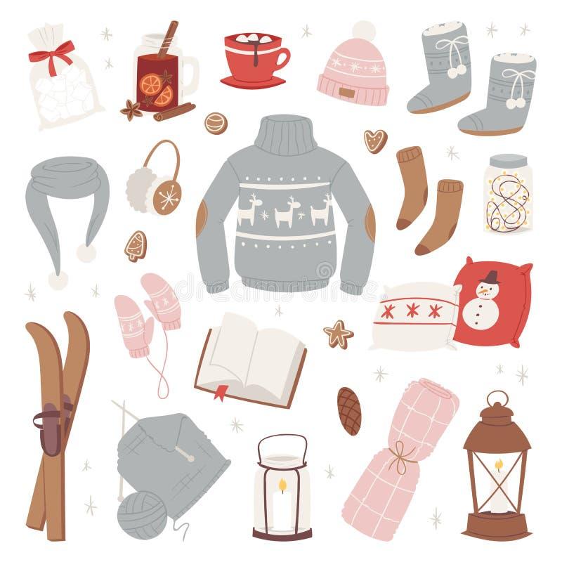 Wektorowi zim ubrania grżą set kapelusz, szalik, pulower, rękawiczki mody odzieży stylu puloweru projekta ubraniowy wintertime royalty ilustracja