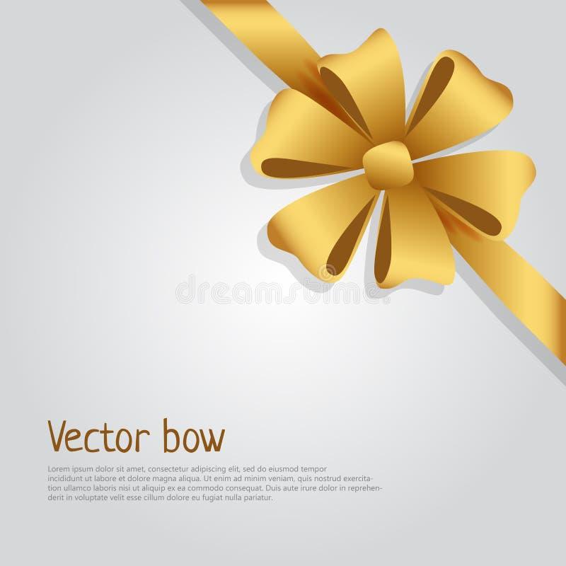 Wektorowy łęk Złoty Szeroki faborek Jaskrawi Sześć płatków ilustracja wektor